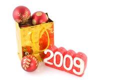 Bolso de compras con las bolas Imágenes de archivo libres de regalías