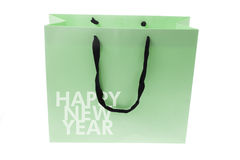 Bolso de compras con saludos del Año Nuevo Imagen de archivo