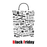 Bolso de compras de Black Friday Fotografía de archivo
