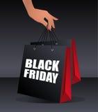 Bolso de compras de Black Friday Imagen de archivo libre de regalías