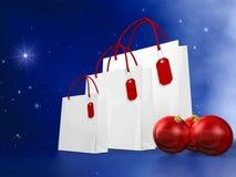 Bolso de compras de la Navidad blanca Imagenes de archivo