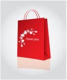 Bolso de compras para el día de tarjeta del día de San Valentín Fotos de archivo