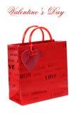 Bolso de compras para el día de tarjeta del día de San Valentín Foto de archivo libre de regalías