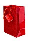 Bolso de compras rojo Imágenes de archivo libres de regalías