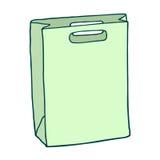 Bolso de compras verde Gráfico del vector Objeto aislado en el CCB blanco Imágenes de archivo libres de regalías
