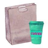 Bolso de cuero de la acuarela con una taza de café Imágenes de archivo libres de regalías