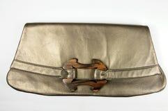 Bolso de cuero femenino de bronce del diseñador Imagen de archivo libre de regalías