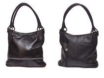 Bolso de cuero femenino negro Imágenes de archivo libres de regalías
