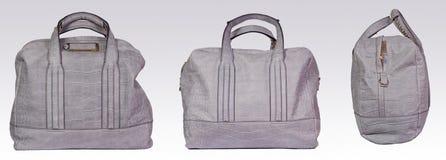 Bolso de cuero gris de la mujer Imagen de archivo libre de regalías