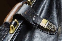 Bolso de cuero negro Fotos de archivo