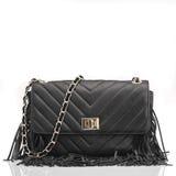Bolso de cuero negro de moda Imagen de archivo