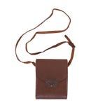 Bolso de cuero o caja marrón viejo Imágenes de archivo libres de regalías
