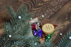 Bolso de dulces y del árbol de navidad Imagen de archivo