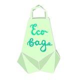Bolso de Eco Concepto ecológico del paquete de la papiroflexia con un le dibujado mano Fotos de archivo