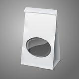 Bolso de empaquetado de papel realista del vector blanco en blanco Foto de archivo