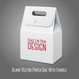 Bolso de empaquetado en blanco del Libro Blanco con la manija Imagenes de archivo