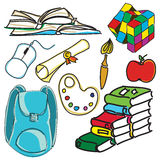 Bolso de escuela coloreado exhausto Imagen de archivo libre de regalías