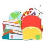 Bolso de escuela con la pila de libros y las fuentes de escuela Ilustración del vector ilustración del vector