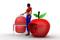 bolso de escuela de las mujeres 3d y manzana del reloj Imagenes de archivo