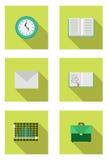 Bolso de escuela, reloj, sobre, libro, diario, cartas ilustración del vector