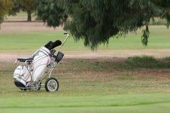 Bolso de golf y trundler Imagen de archivo libre de regalías