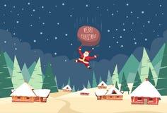 Bolso de la casa del top del tejado de Santa Claus Fall Down Fly Sky Fotos de archivo