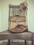 Bolso de la moda del vintage, zapatos, sombrero, accesorios Fotografía de archivo