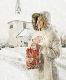 Bolso de la muchacha y del regalo de Navidad Imagen de archivo