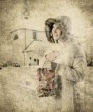 Bolso de la muchacha y del regalo de Navidad Foto de archivo