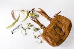 Bolso de la mujer y otros accesorios Fotografía de archivo libre de regalías