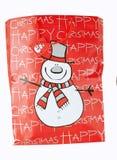 Bolso de la Navidad con el muñeco de nieve Fotografía de archivo