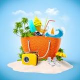 Bolso de la playa Foto de archivo libre de regalías