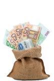 Bolso de las cuentas del euro del dinero Fotos de archivo libres de regalías