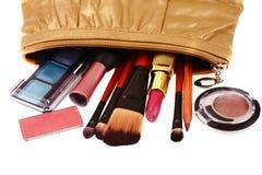 Bolso de los cosméticos con el cosmético Foto de archivo