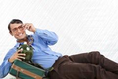 Bolso de Lying With Travel del hombre de negocios Foto de archivo libre de regalías