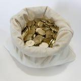 Bolso de monedas en un fondo blanco Imágenes de archivo libres de regalías