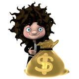 Bolso de oro del dólar stock de ilustración
