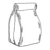 Bolso de papel del almuerzo Bosquejo dibujado mano de la historieta Fotos de archivo libres de regalías