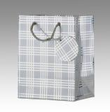 Bolso de plata del regalo con la etiqueta Foto de archivo