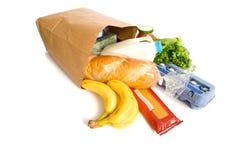 Bolso de tiendas de comestibles en blanco Fotos de archivo