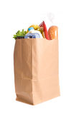 Bolso de tiendas de comestibles en blanco Imagen de archivo libre de regalías