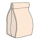Bolso del almuerzo Bolso incompleto dibujado mano de la comida del papel del arte Illus del vector Fotos de archivo libres de regalías