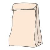 Bolso del almuerzo del papel de Brown Bolso incompleto dibujado mano de la comida del papel del arte Fotos de archivo