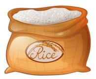 Bolso del arroz en el fondo blanco libre illustration