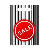 Bolso del código de barras de las compras con la etiqueta engomada de la venta Imagen de archivo