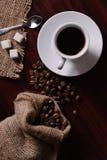 Bolso del café y de arpillera Fotografía de archivo libre de regalías