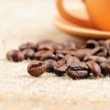 Bolso del café y de arpillera Imagen de archivo libre de regalías