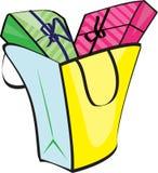 Bolso del comprador con los regalos stock de ilustración