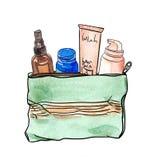 Bolso del cosmético de la acuarela Imagen de archivo libre de regalías