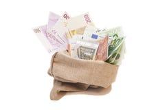 Bolso del dinero con euro Fotos de archivo libres de regalías